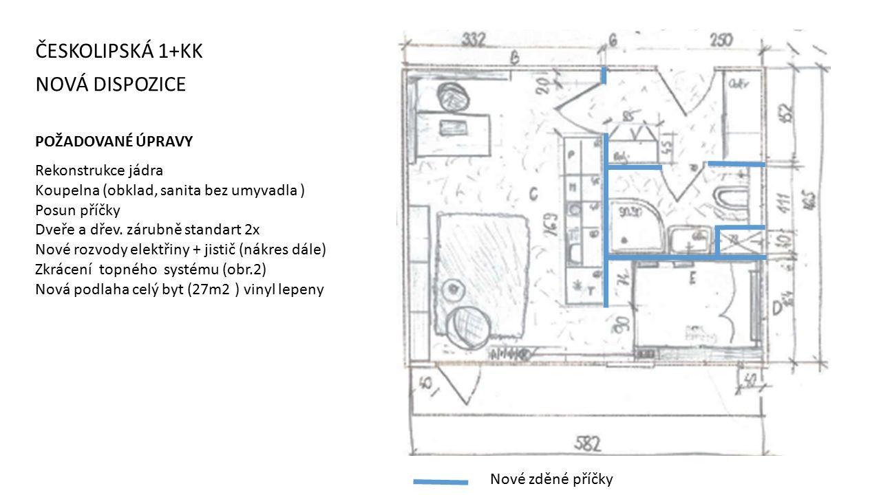 NOVÁ DISPOZICE ČESKOLIPSKÁ 1+KK Nové zděné příčky POŽADOVANÉ ÚPRAVY Rekonstrukce jádra Koupelna (obklad, sanita bez umyvadla ) Posun příčky Dveře a dřev.