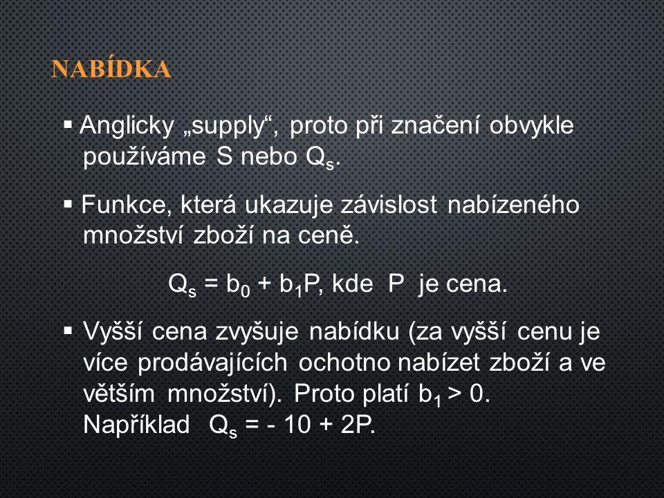 """NABÍDKA  Anglicky """"supply , proto při značení obvykle používáme S nebo Q s."""