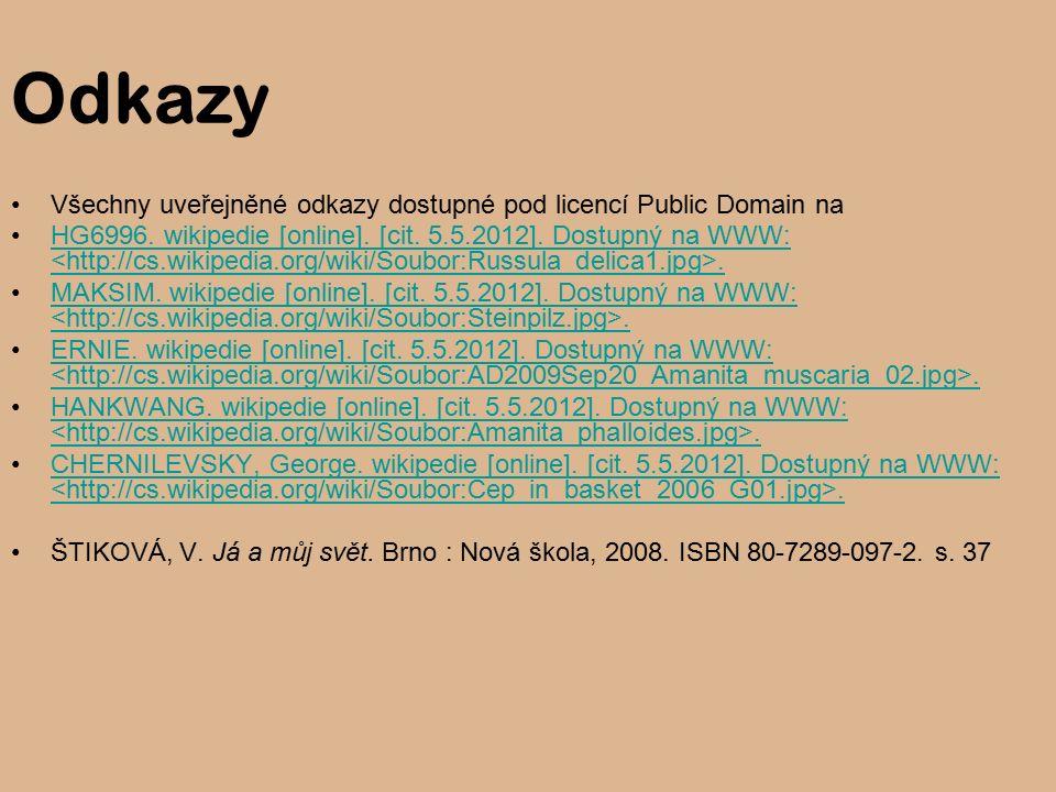 Odkazy Všechny uveřejněné odkazy dostupné pod licencí Public Domain na HG6996.