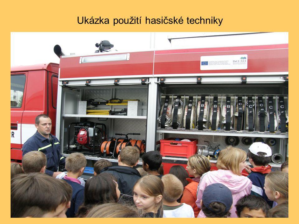 Ukázka použití hasičské techniky