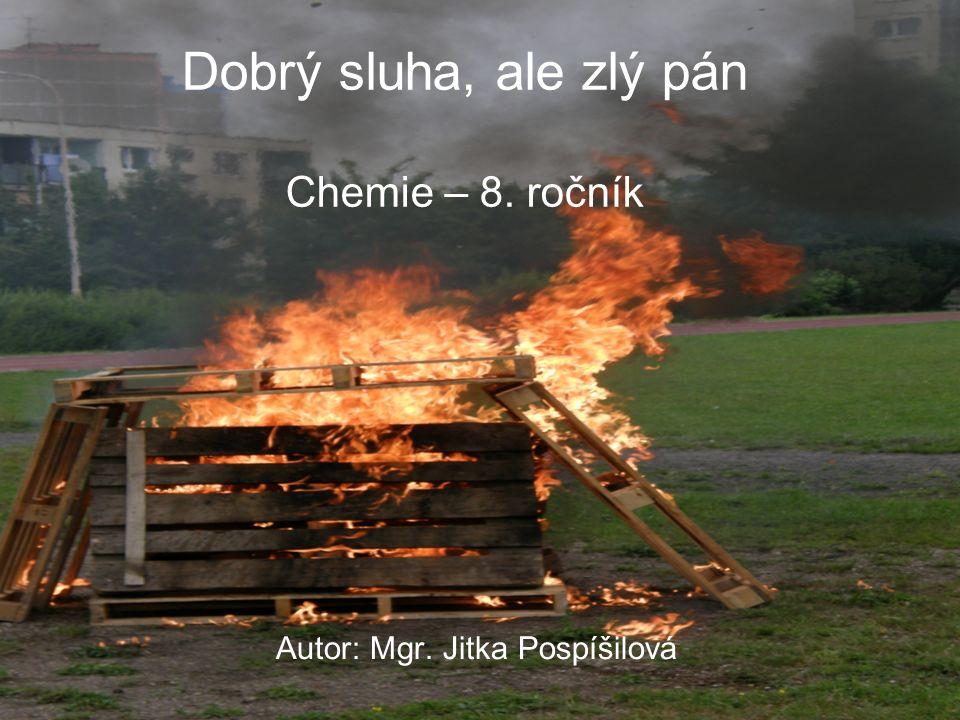Dobrý sluha, ale zlý pán Chemie – 8. ročník Autor: Mgr. Jitka Pospíšilová