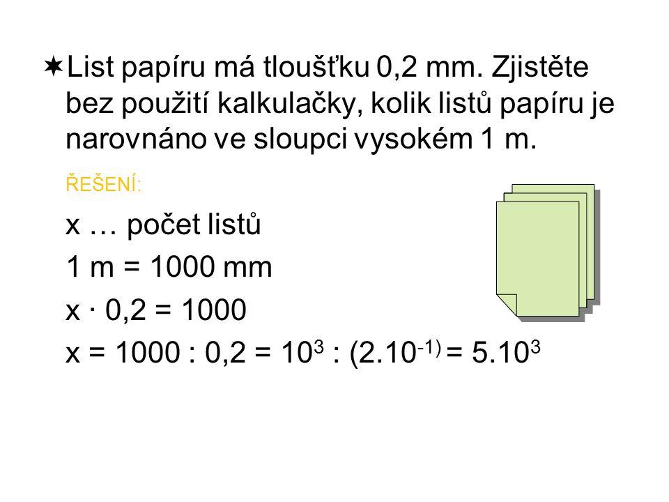  List papíru má tloušťku 0,2 mm.