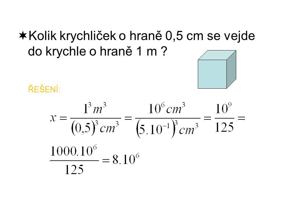  Kolik krychliček o hraně 0,5 cm se vejde do krychle o hraně 1 m ŘEŠENÍ: