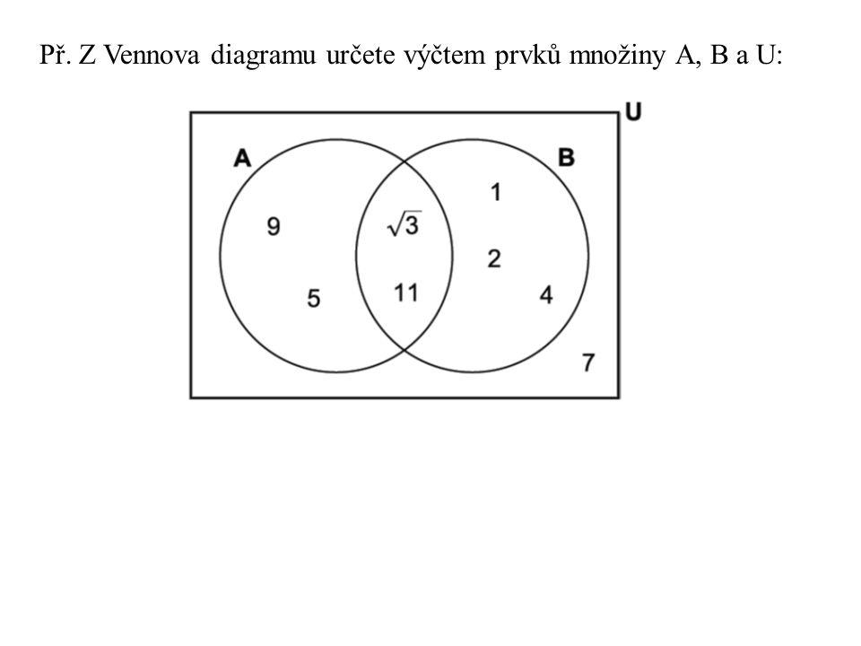 Př. Z Vennova diagramu určete výčtem prvků množiny A, B a U: