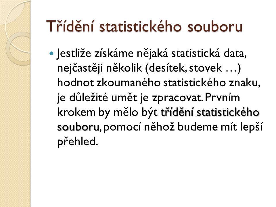 Třídění statistického souboru (absolutní) četnost (absolutní) četnost statistického znaku v souboru = udává počet výskytů dané hodnoty znaku v souboru ◦ značí se, kde i=1, 2, … ◦ platí: rozsah souboru