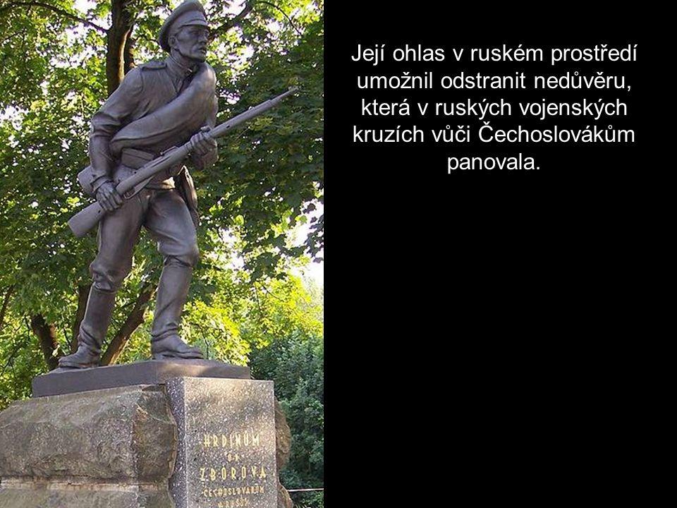 Její ohlas v ruském prostředí umožnil odstranit nedůvěru, která v ruských vojenských kruzích vůči Čechoslovákům panovala.
