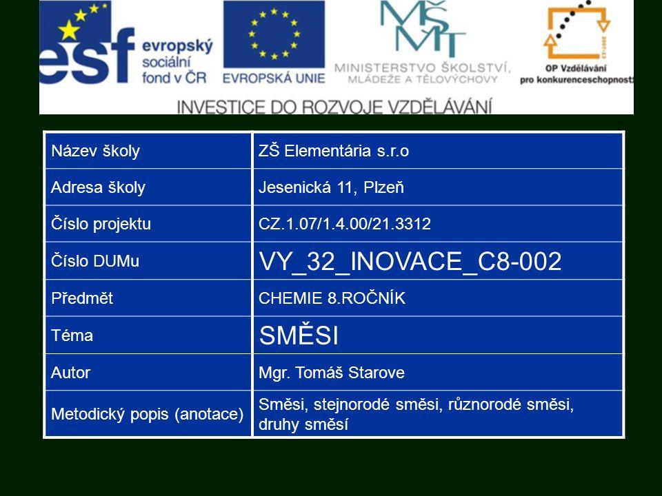 Název školyZŠ Elementária s.r.o Adresa školyJesenická 11, Plzeň Číslo projektuCZ.1.07/1.4.00/21.3312 Číslo DUMu VY_32_INOVACE_C8-002 PředmětCHEMIE 8.ROČNÍK Téma SMĚSI AutorMgr.