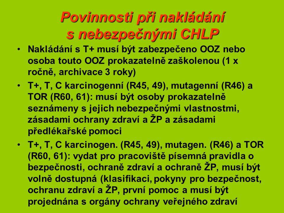 Povinnosti při nakládání s nebezpečnými CHLP Nakládání s T+ musí být zabezpečeno OOZ nebo osoba touto OOZ prokazatelně zaškolenou (1 x ročně, archivace 3 roky) T+, T, C karcinogenní (R45, 49), mutagenní (R46) a TOR (R60, 61): musí být osoby prokazatelně seznámeny s jejich nebezpečnými vlastnostmi, zásadami ochrany zdraví a ŽP a zásadami předlékařské pomoci T+, T, C karcinogen.