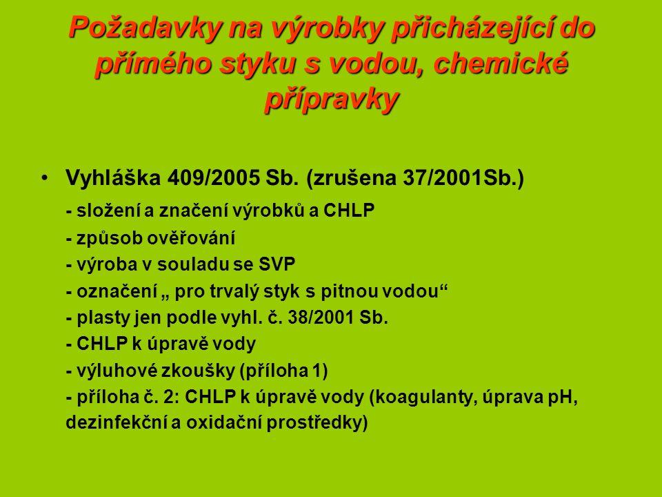 Požadavky na výrobky přicházející do přímého styku s vodou, chemické přípravky Vyhláška 409/2005 Sb.