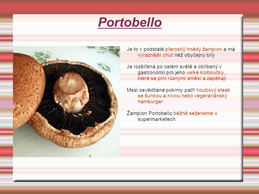 Portobello Je to v podstatě přerostlý hnědý žampion a má výraznější chuť něž obyčejný bílý Je rozšířená po celém světě a oblíbený v gastronomii pro jeho velké kloboučky, které se plní různými směsi a zapékají Mezi osvědčené pokrmy patří houbový steak se šunkou a nivou nebo vegerariánský hamburger Žampion Portobello běžně seženeme v supermarketech