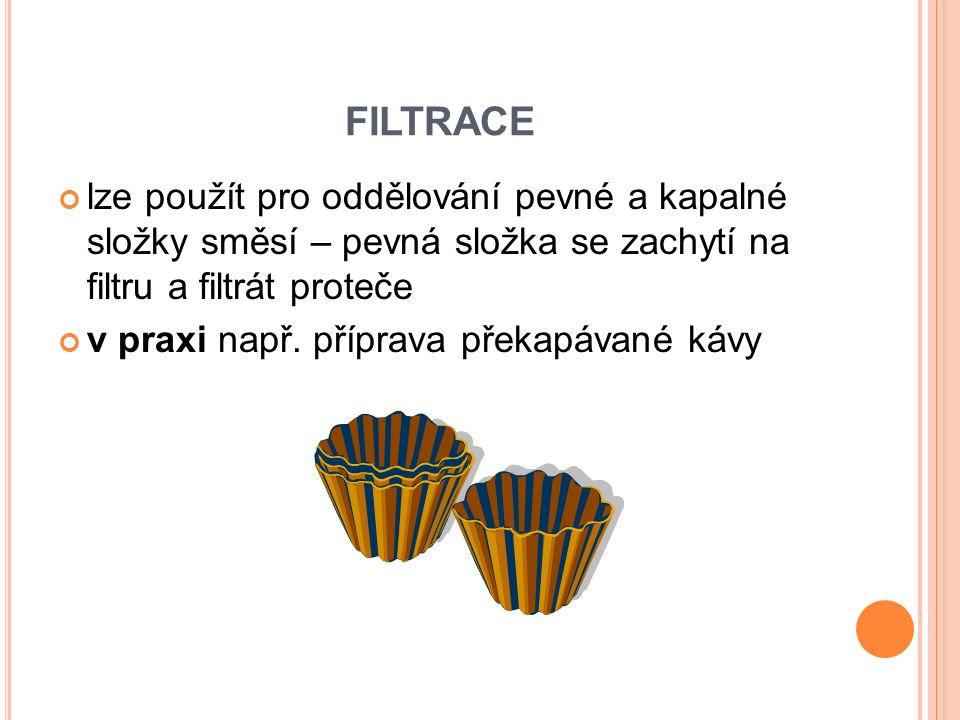 FILTRACE lze použít pro oddělování pevné a kapalné složky směsí – pevná složka se zachytí na filtru a filtrát proteče v praxi např. příprava překapáva