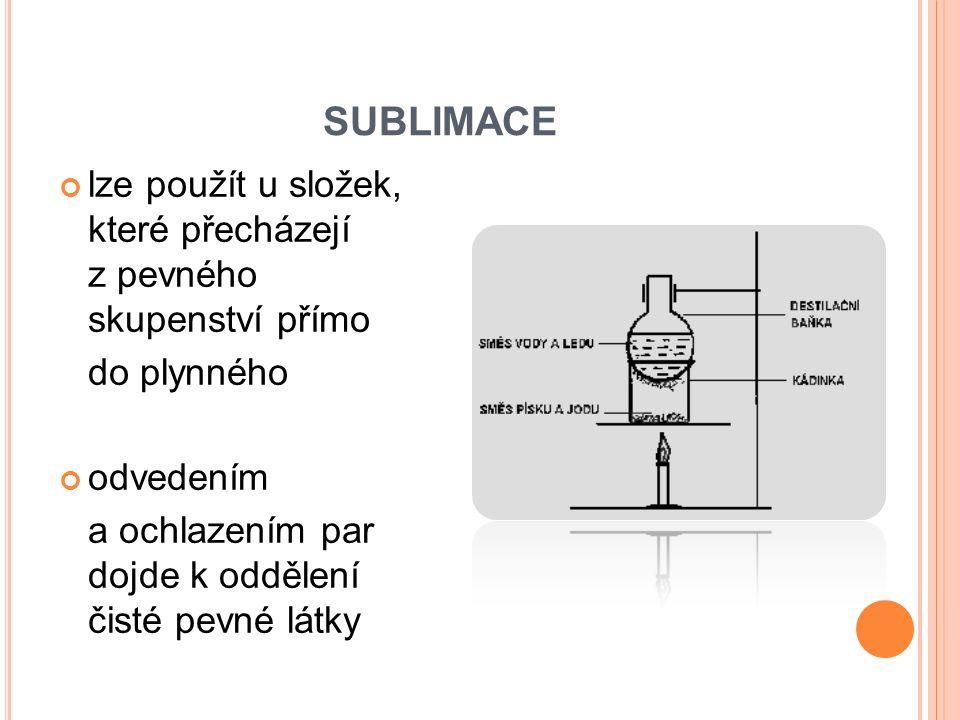 SUBLIMACE lze použít u složek, které přecházejí z pevného skupenství přímo do plynného odvedením a ochlazením par dojde k oddělení čisté pevné látky