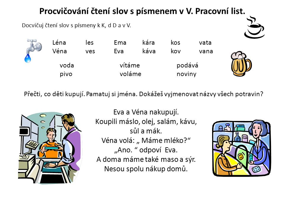 Procvičování čtení slov s písmenem v V. Pracovní list.