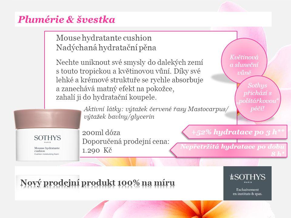 Plumérie & švestka Mouse hydratante cushion Nadýchaná hydratační pěna Nechte uniknout své smysly do dalekých zemí s touto tropickou a květinovou vůní.