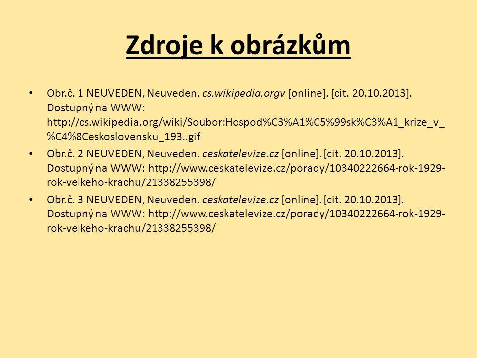 Zdroje k obrázkům Obr.č. 1 NEUVEDEN, Neuveden. cs.wikipedia.orgv [online].