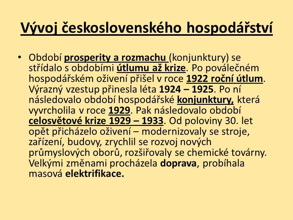 Vývoj československého hospodářství Období prosperity a rozmachu (konjunktury) se střídalo s obdobími útlumu až krize.