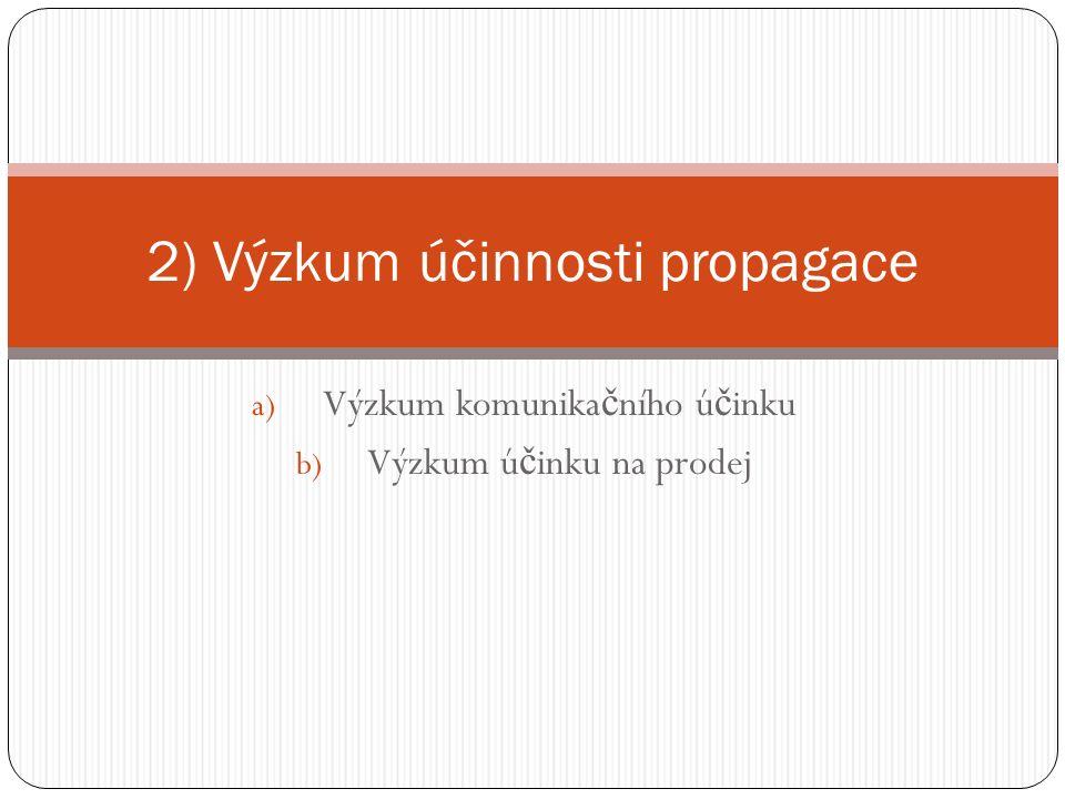 a) Výzkum komunika č ního ú č inku b) Výzkum ú č inku na prodej 2) Výzkum účinnosti propagace