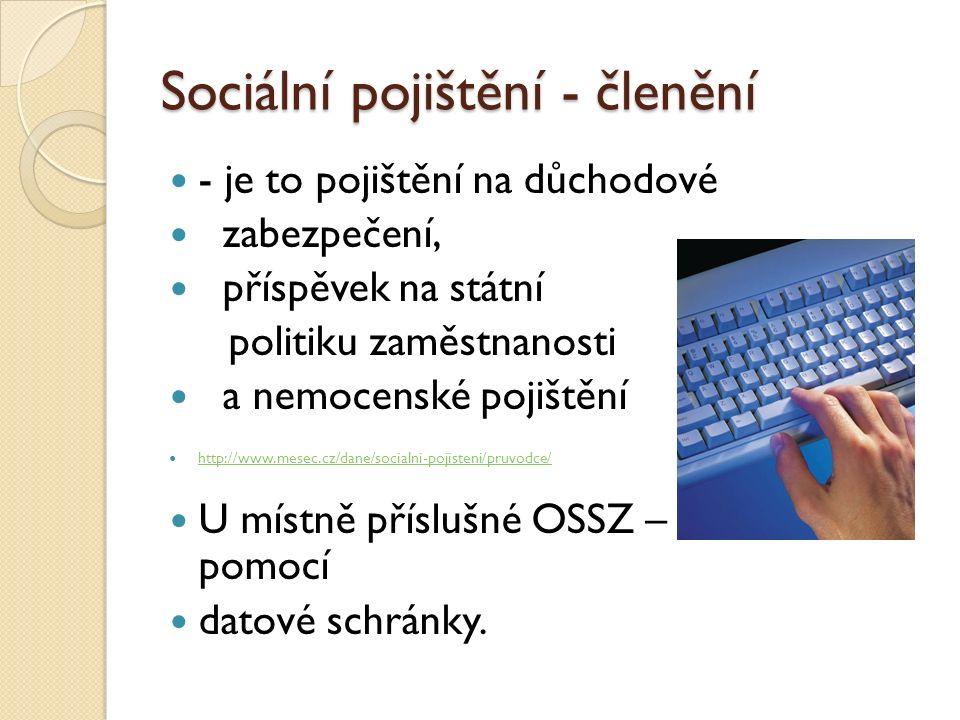 Sociální pojištění - členění - je to pojištění na důchodové zabezpečení, příspěvek na státní politiku zaměstnanosti a nemocenské pojištění http://www.mesec.cz/dane/socialni-pojisteni/pruvodce/ U místně příslušné OSSZ – možno i pomocí datové schránky.