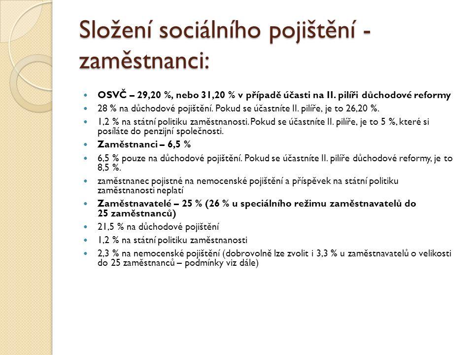 Složení sociálního pojištění - zaměstnanci: OSVČ – 29,20 %, nebo 31,20 % v případě účasti na II. pilíři důchodové reformy 28 % na důchodové pojištění.