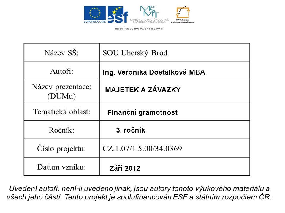 Ing. Veronika Dostálková MBA MAJETEK A ZÁVAZKY Finanční gramotnost 3. ročník Září 2012
