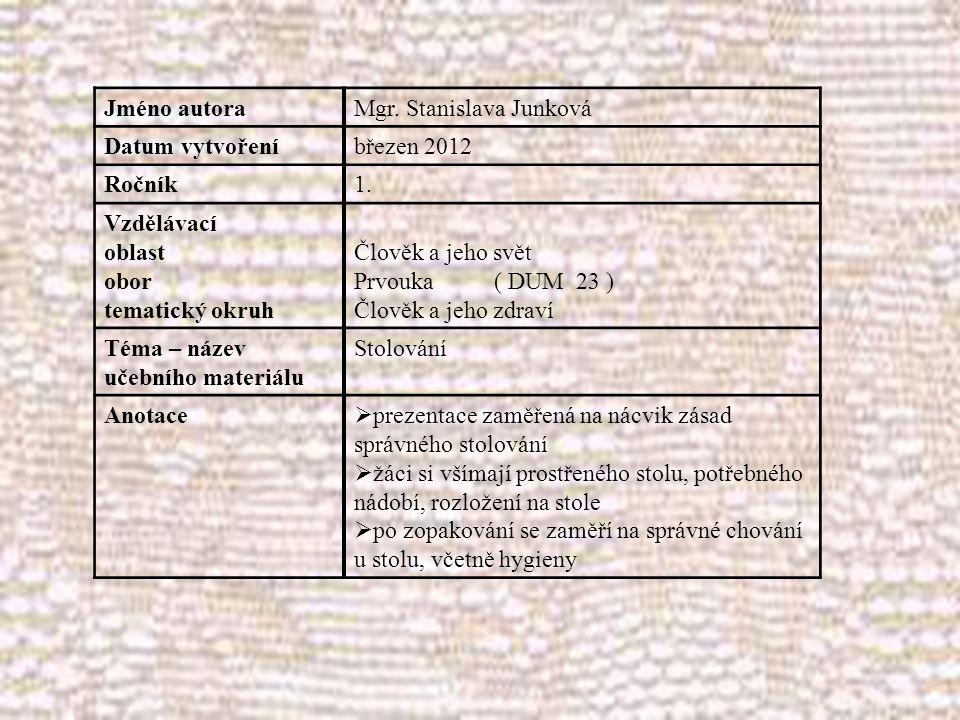 Jméno autoraMgr. Stanislava Junková Datum vytvořeníbřezen 2012 Ročník1.