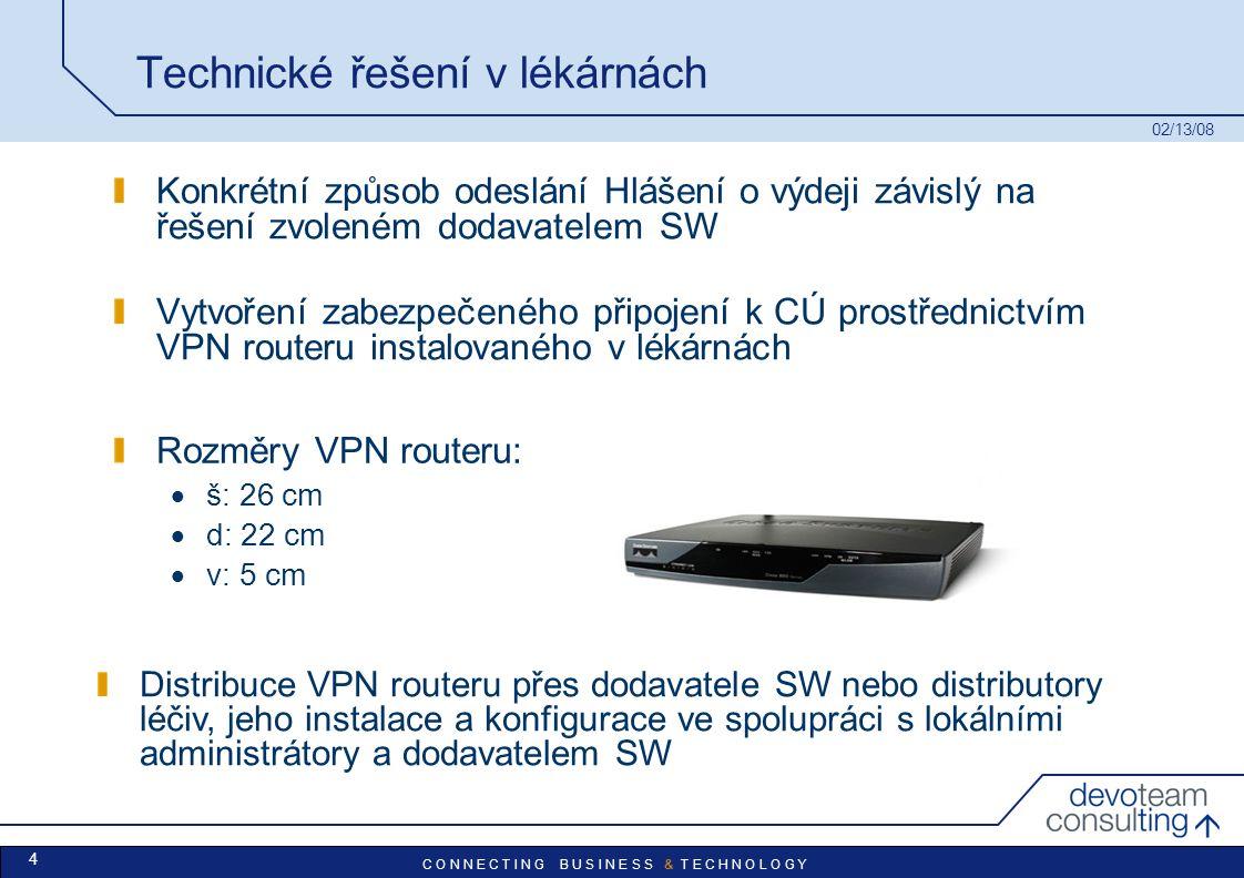 C O N N E C T I N G B U S I N E S S & T E C H N O L O G Y 02/13/08 4 Technické řešení v lékárnách Konkrétní způsob odeslání Hlášení o výdeji závislý na řešení zvoleném dodavatelem SW Vytvoření zabezpečeného připojení k CÚ prostřednictvím VPN routeru instalovaného v lékárnách Rozměry VPN routeru:  š: 26 cm  d: 22 cm  v: 5 cm Distribuce VPN routeru přes dodavatele SW nebo distributory léčiv, jeho instalace a konfigurace ve spolupráci s lokálními administrátory a dodavatelem SW