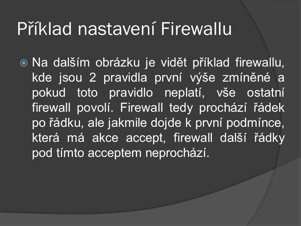 Příklad nastavení Firewallu  Na dalším obrázku je vidět příklad firewallu, kde jsou 2 pravidla první výše zmíněné a pokud toto pravidlo neplatí, vše ostatní firewall povolí.