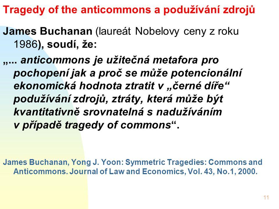 """11 Tragedy of the anticommons a podužívání zdrojů James Buchanan (laureát Nobelovy ceny z roku 1986), soudí, že: """"..."""