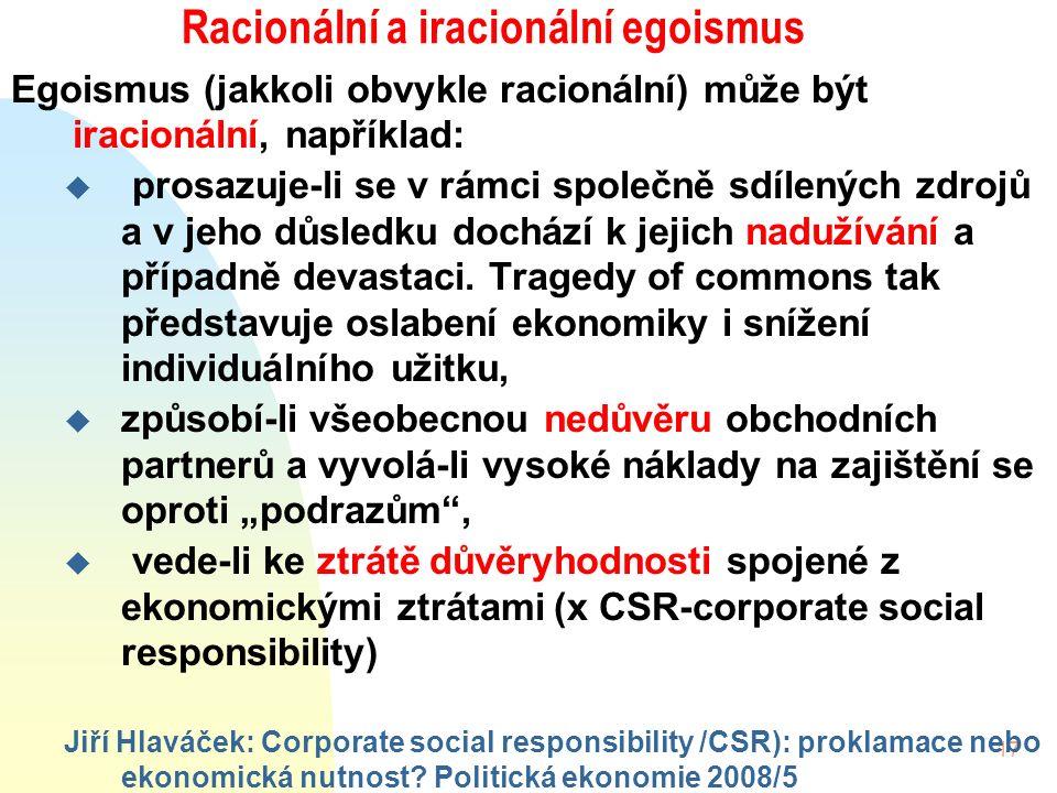 17 Racionální a iracionální egoismus Egoismus (jakkoli obvykle racionální) může být iracionální, například: u prosazuje-li se v rámci společně sdílených zdrojů a v jeho důsledku dochází k jejich nadužívání a případně devastaci.
