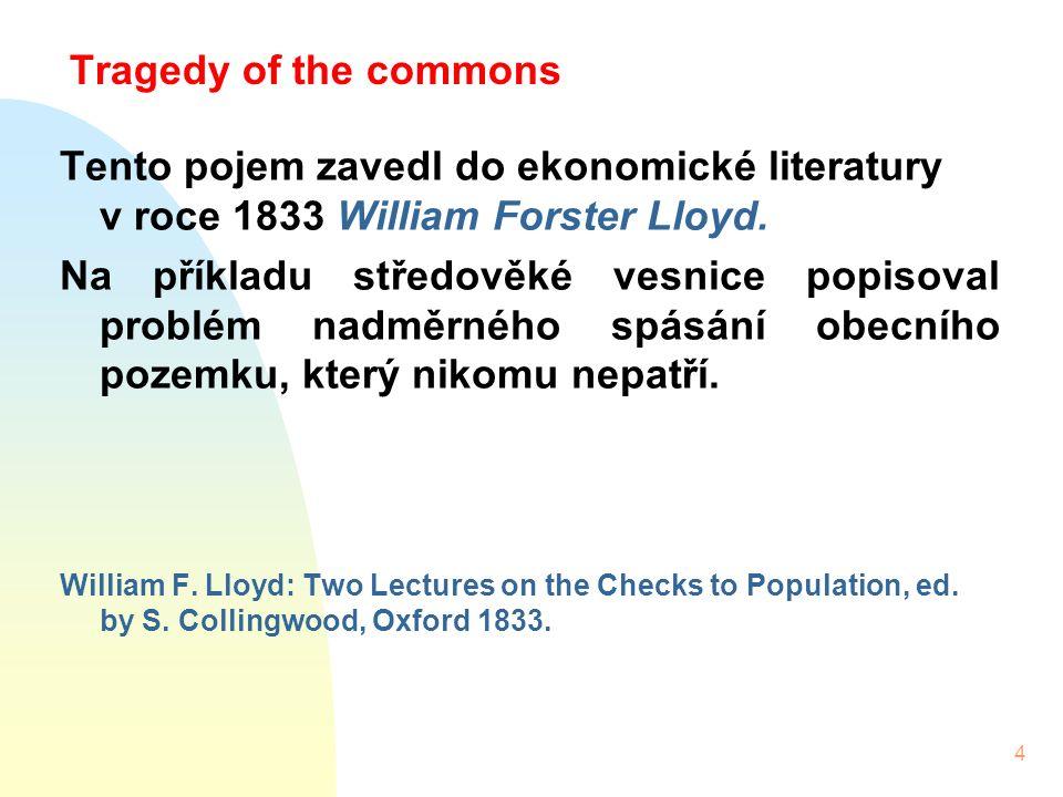 4 Tragedy of the commons Tento pojem zavedl do ekonomické literatury v roce 1833 William Forster Lloyd.
