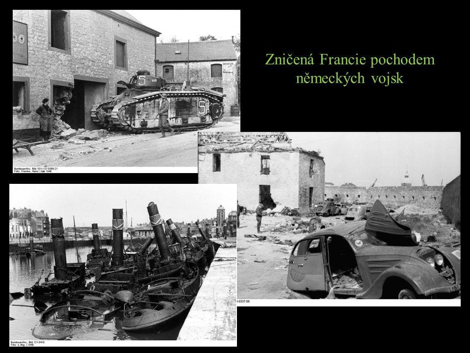 Zničená Francie pochodem německých vojsk