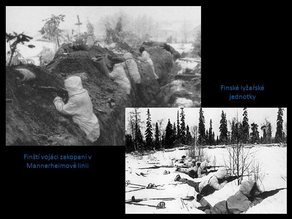 Finští vojáci zakopaní v Mannerheimově linii Finské lyžařské jednotky