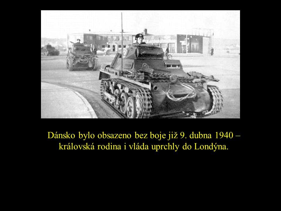 Dánsko bylo obsazeno bez boje již 9. dubna 1940 – královská rodina i vláda uprchly do Londýna.