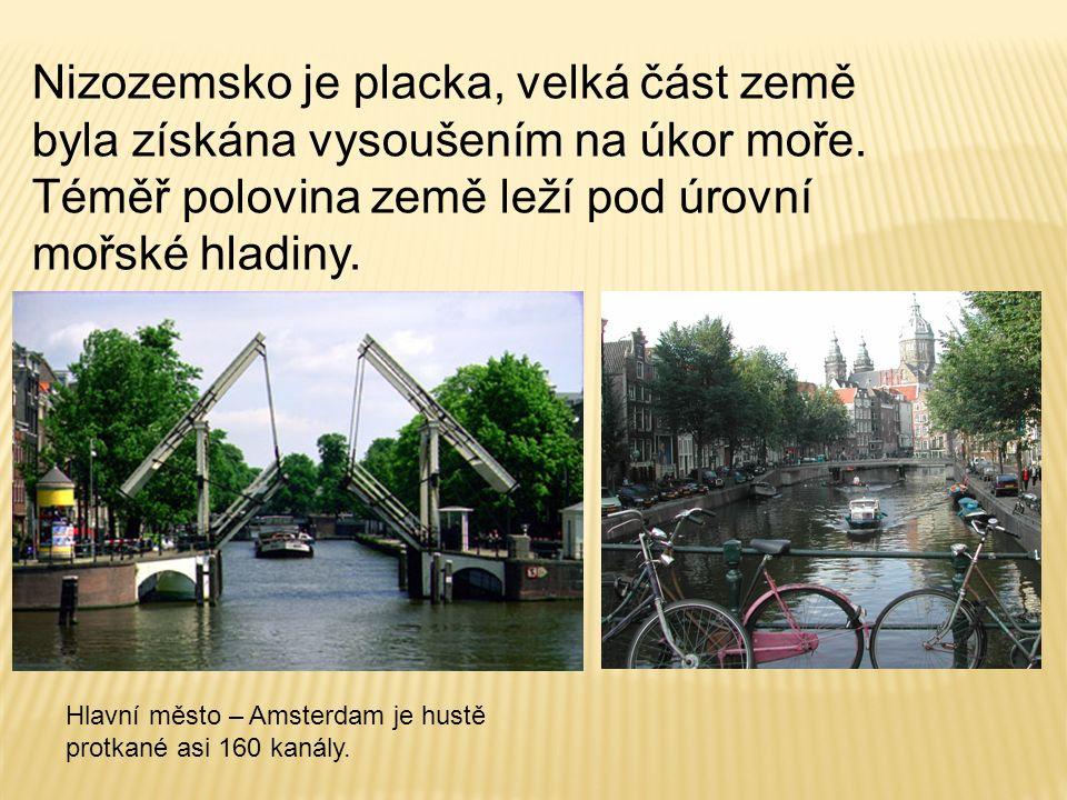 Nizozemsko je placka, velká část země byla získána vysoušením na úkor moře. Téměř polovina země leží pod úrovní mořské hladiny. Hlavní město – Amsterd