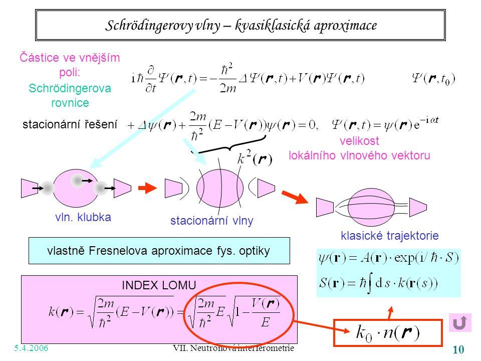 5.4.2006 VII. Neutronová interferometrie 10 Schrödingerovy vlny – kvasiklasická aproximace Částice ve vnějším poli: Schrödingerova rovnice stacionární
