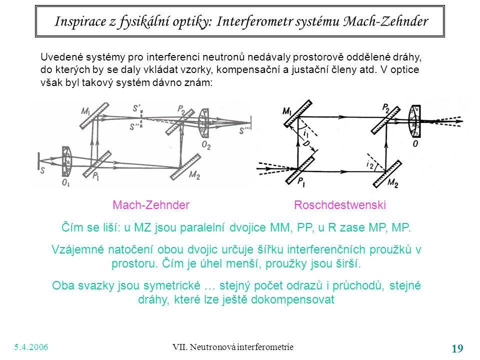 5.4.2006 VII. Neutronová interferometrie 19 Inspirace z fysikální optiky: Interferometr systému Mach-Zehnder Uvedené systémy pro interferenci neutronů