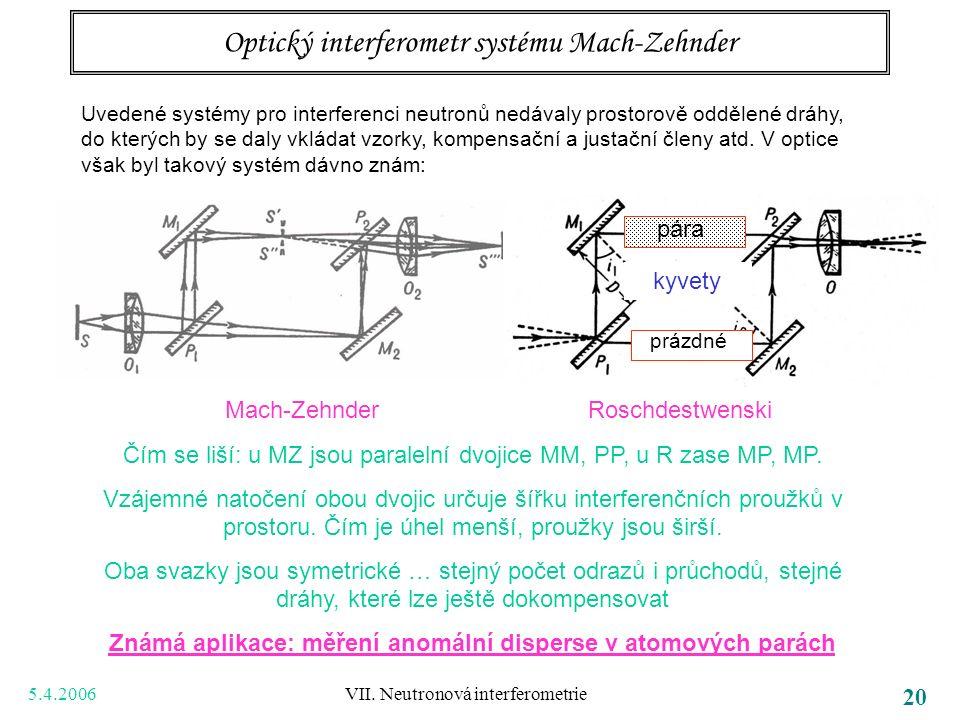 5.4.2006 VII. Neutronová interferometrie 20 Optický interferometr systému Mach-Zehnder Uvedené systémy pro interferenci neutronů nedávaly prostorově o