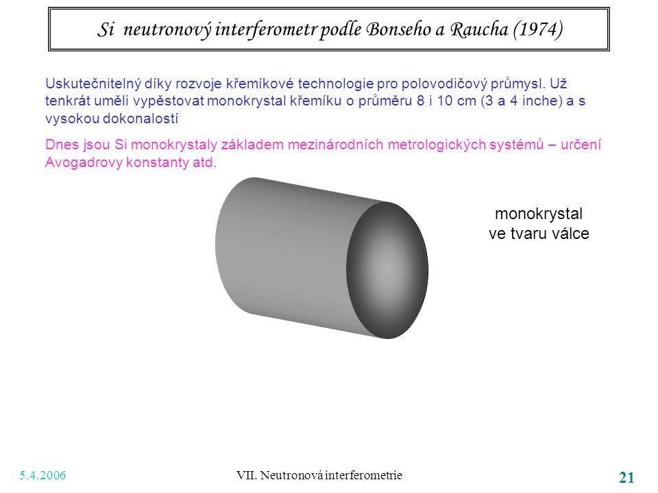 5.4.2006 VII. Neutronová interferometrie 21 Si neutronový interferometr podle Bonseho a Raucha (1974) Uskutečnitelný díky rozvoje křemíkové technologi