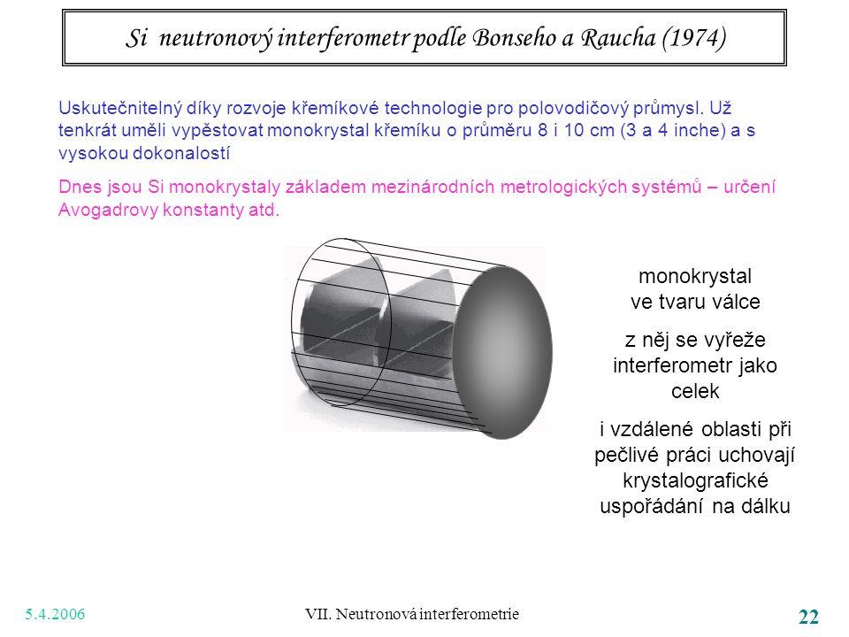 5.4.2006 VII. Neutronová interferometrie 22 Si neutronový interferometr podle Bonseho a Raucha (1974) Uskutečnitelný díky rozvoje křemíkové technologi
