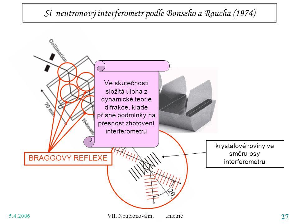 5.4.2006 VII. Neutronová interferometrie 27 Si neutronový interferometr podle Bonseho a Raucha (1974) BRAGGOVY REFLEXE krystalové roviny ve směru osy