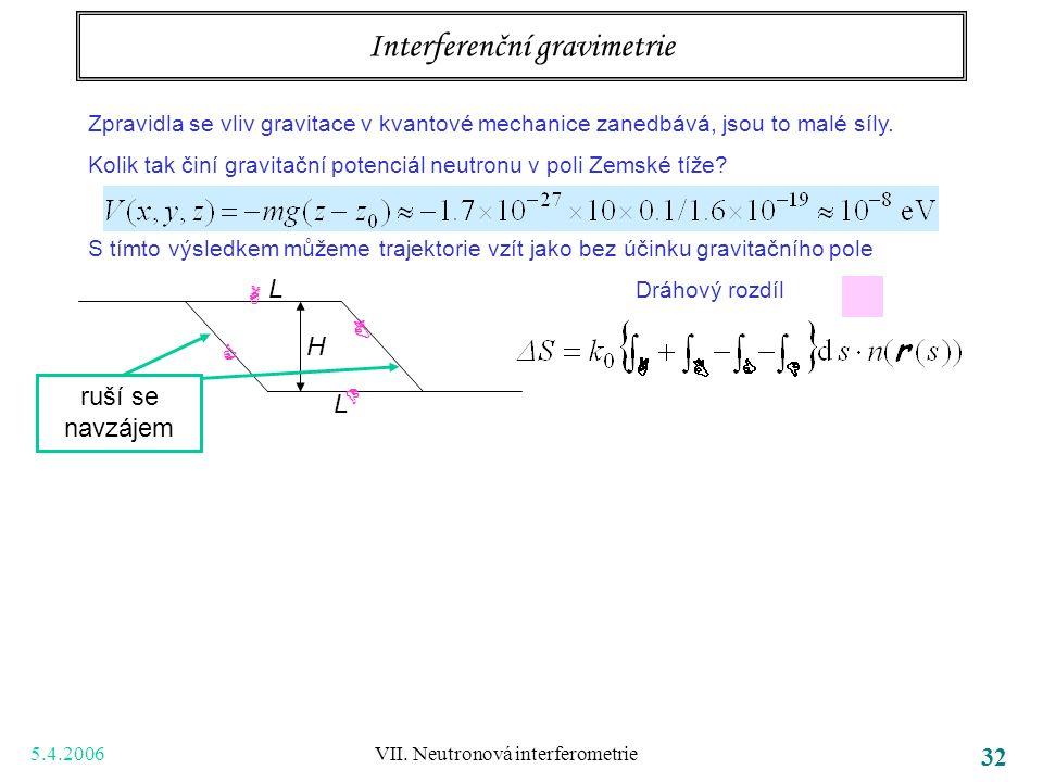 5.4.2006 VII. Neutronová interferometrie 32 Interferenční gravimetrie Zpravidla se vliv gravitace v kvantové mechanice zanedbává, jsou to malé síly. K