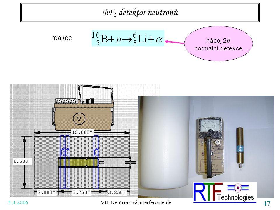 5.4.2006 VII. Neutronová interferometrie 47 BF 3 detektor neutronů reakce náboj 2 e normální detekce
