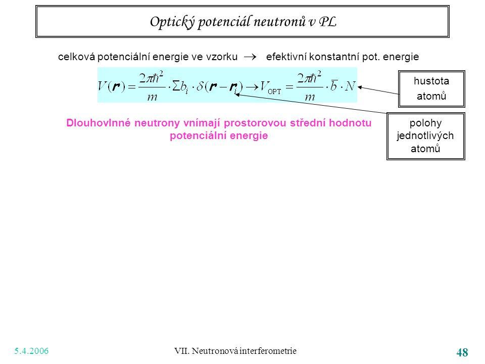 5.4.2006 VII. Neutronová interferometrie 48 Optický potenciál neutronů v PL Dlouhovlnné neutrony vnímají prostorovou střední hodnotu potenciální energ