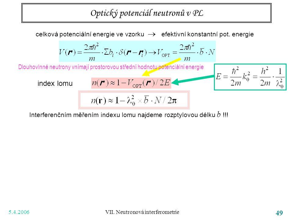 5.4.2006 VII. Neutronová interferometrie 49 Optický potenciál neutronů v PL Dlouhovlnné neutrony vnímají prostorovou střední hodnotu potenciální energ