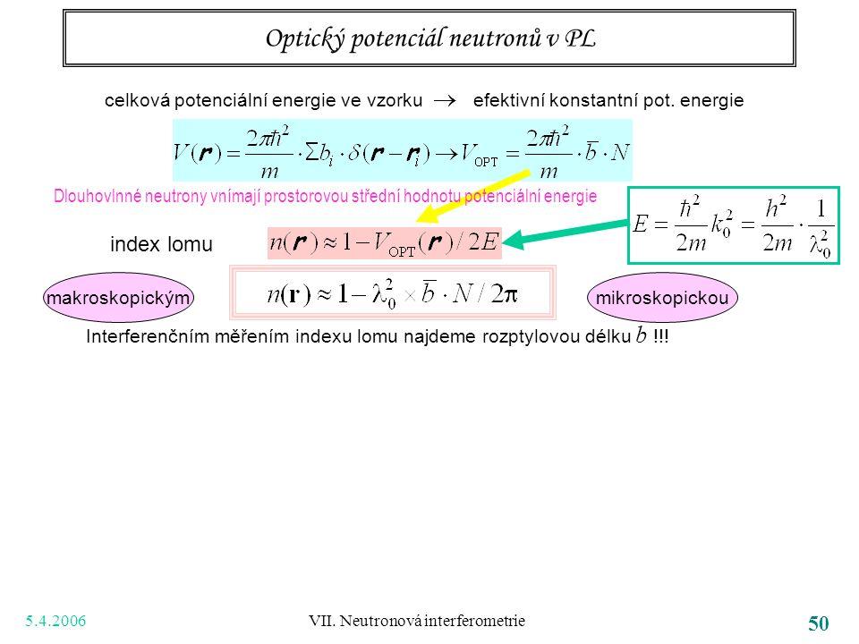 5.4.2006 VII. Neutronová interferometrie 50 Optický potenciál neutronů v PL Dlouhovlnné neutrony vnímají prostorovou střední hodnotu potenciální energ