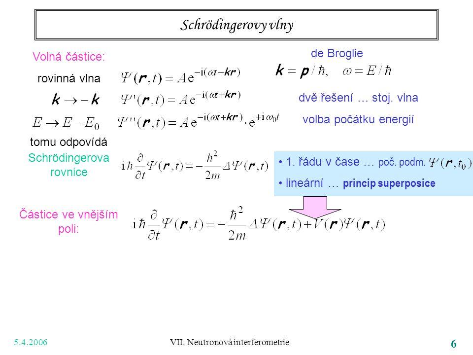 5.4.2006 VII. Neutronová interferometrie 6 Schrödingerovy vlny Volná částice: rovinná vlna tomu odpovídá Schrödingerova rovnice Částice ve vnějším pol