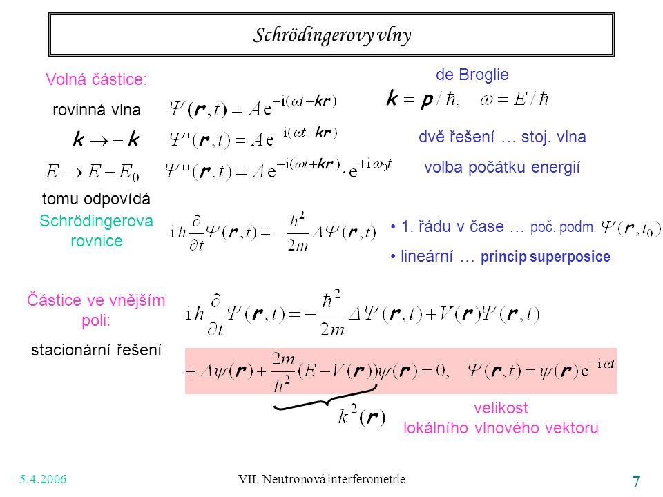 5.4.2006 VII. Neutronová interferometrie 7 Schrödingerovy vlny Volná částice: rovinná vlna tomu odpovídá Schrödingerova rovnice Částice ve vnějším pol