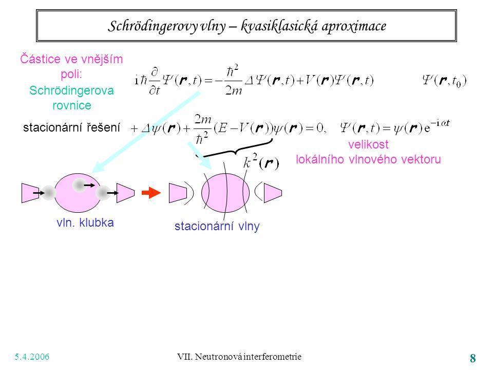 5.4.2006 VII. Neutronová interferometrie 8 Schrödingerovy vlny – kvasiklasická aproximace Částice ve vnějším poli: Schrödingerova rovnice stacionární