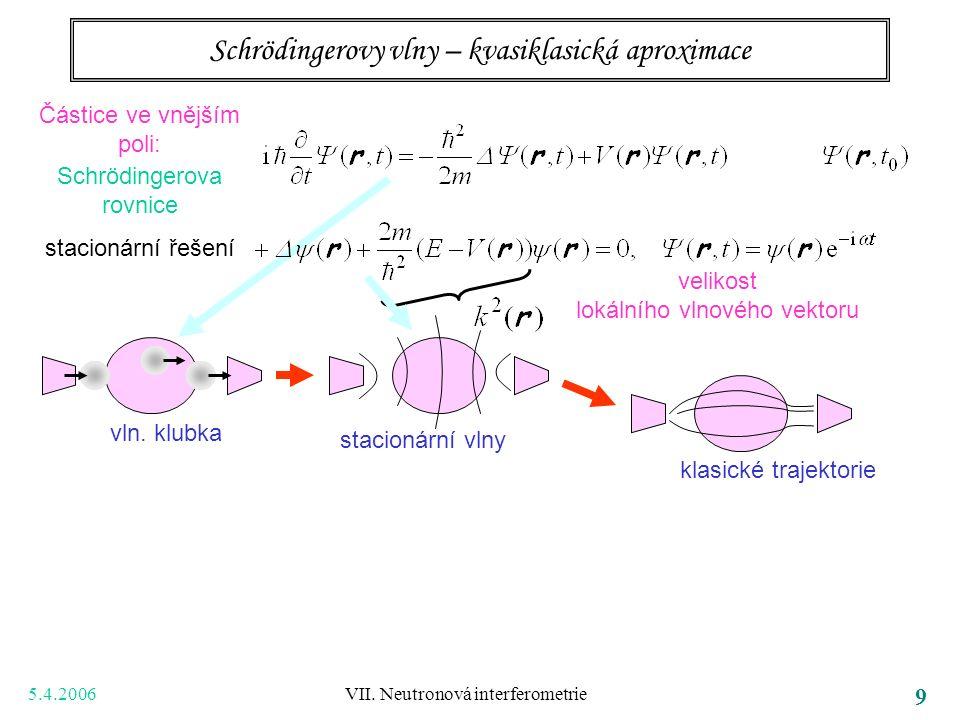 5.4.2006 VII. Neutronová interferometrie 9 Schrödingerovy vlny – kvasiklasická aproximace Částice ve vnějším poli: Schrödingerova rovnice stacionární