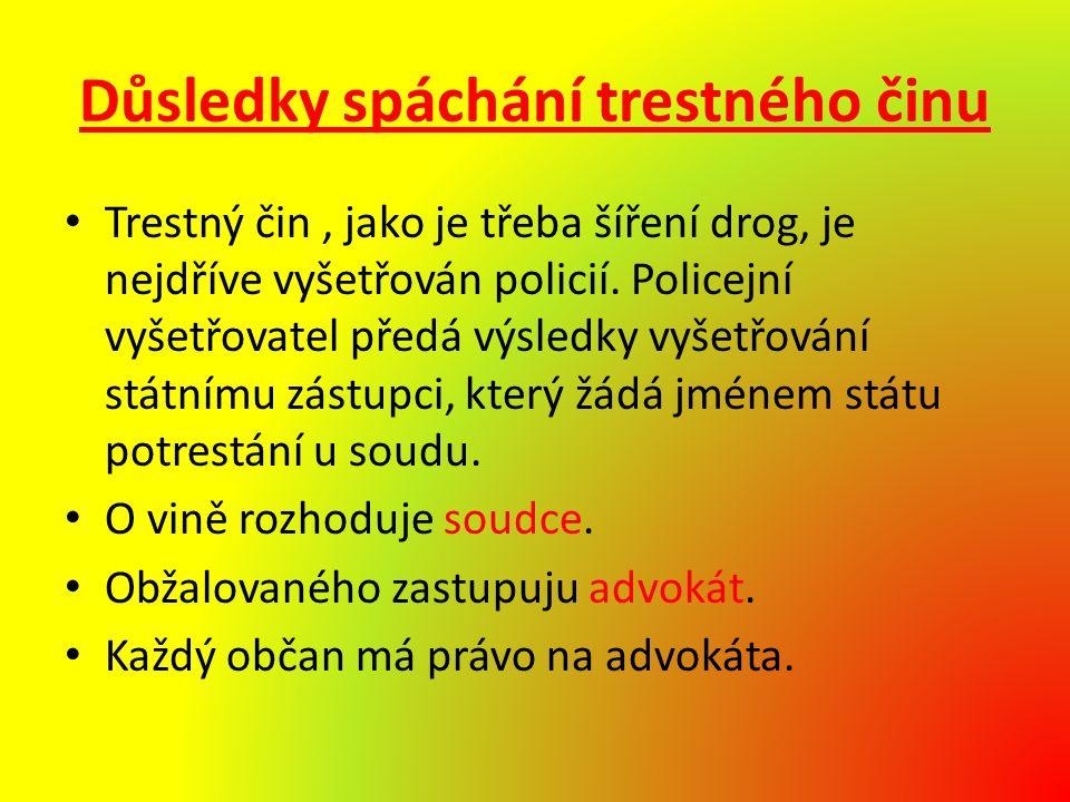 Důsledky spáchání trestného činu Trestný čin, jako je třeba šíření drog, je nejdříve vyšetřován policií.